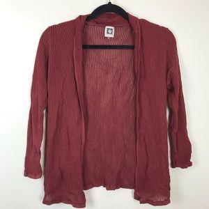 Anne Klein Dark Red Sheer Long Sleeve Cardigan